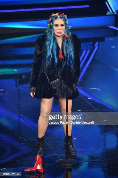 Loredana Bertè performs at the 71th Sanremo Music Festival 2021 at Teatro Ariston on March 02, 2021 in Sanremo, Italy.