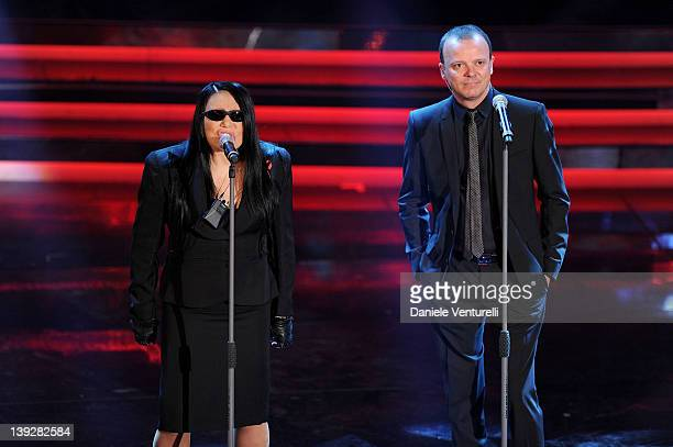 Loredana Berte and Gigi D'Alessio performs on stage at the closing night of the 62th Sanremo Song Festival at the Ariston Theatre on February 18 2012...