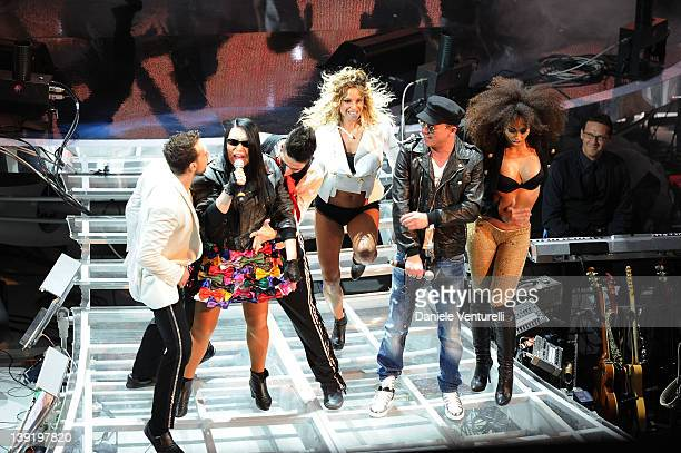 Loredana Berte and Gigi D'Alessio performs on stage at the fourth day of the 62th Sanremo Song Festival at the Ariston Theatre on February 17 2012 in...