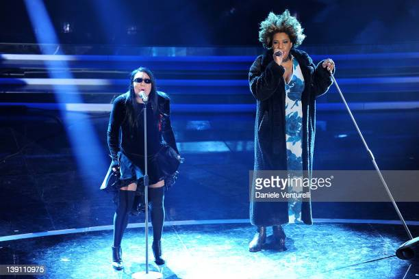 Loredana Berte and Macy Gray performs on stage at the third day of the 62th Sanremo Song Festival at the Ariston Theatre on February 16 2012 in San...