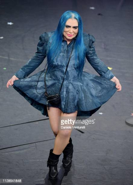 Loredana Berte on stage during the closing night of the 69th Sanremo Music Festival at Teatro Ariston on February 09 2019 in Sanremo Italy