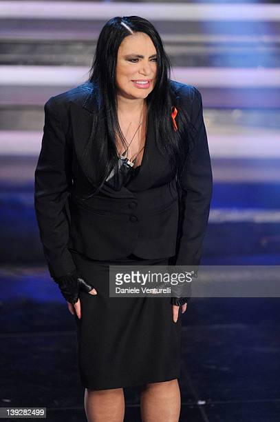 Loredana Berte performs on stage at the closing night of the 62th Sanremo Song Festival at the Ariston Theatre on February 18 2012 in Sanremo Italy