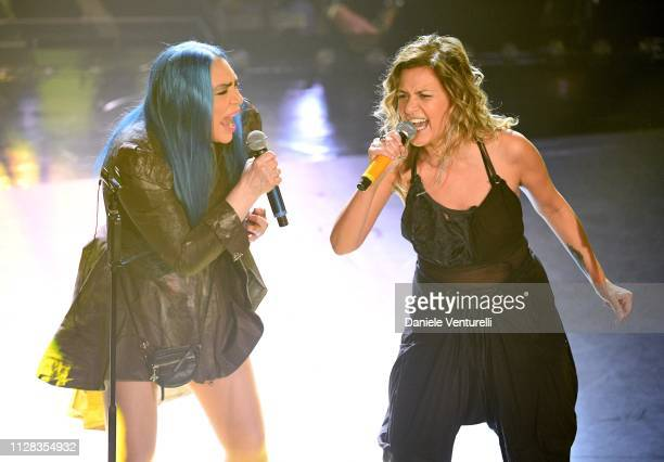 Loredana Berte with Irene Grandi on stage during the fourth night of the 69th Sanremo Music Festival at Teatro Ariston on February 08 2019 in Sanremo...