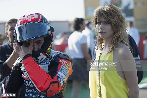 Loredana Cannata of Italy looks on on the grid during the Moto3 race during the MotoGP Valencia Race at Ricardo Tormo Circuit on November 8 2015 in...