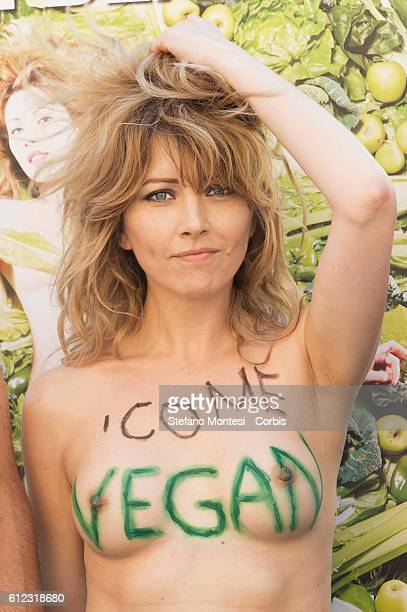 Loredana Cannata the actress Vegana poses topless during manifestation of the Association of Italian Animalists Onlus that launches its first vegan...