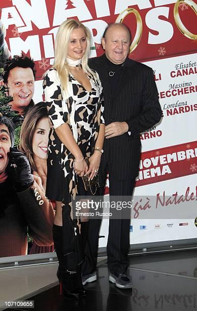 "Loredana De Nardis and Massimo Boldi attend the ""A Natale Mi Sposo"" photocall at Cinema Adriano on November 24, 2010 in Rome, Italy."
