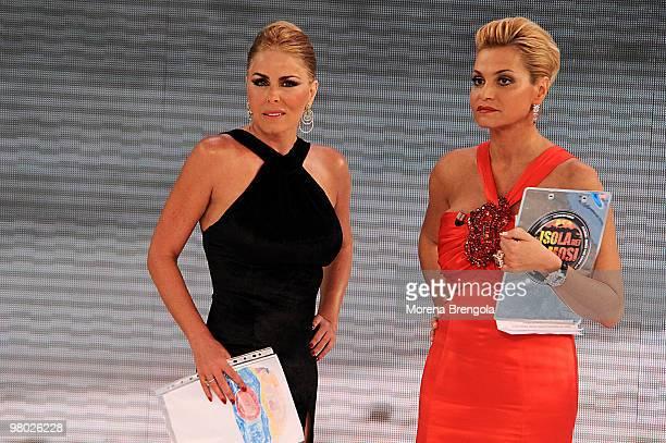 Loredana Lecciso and Simona Ventura appear on ''L'Isola dei famosi'' Italian tv show on March 24 2010 in Milan Italy