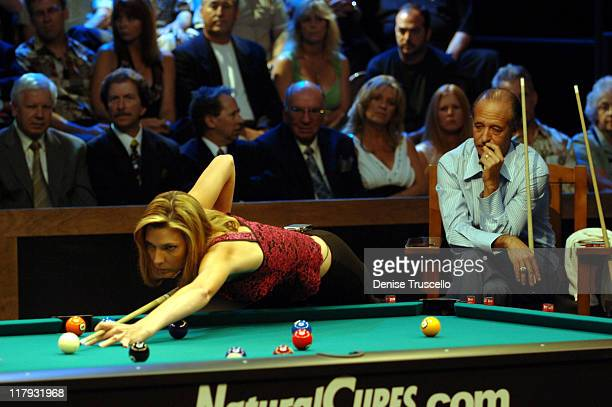 Loree Jon Jones and Mike Sigel during International Pool Tour World 8Ball Championship August 20 2005 at Mandalay Bay in Las Vegas Nevada United...