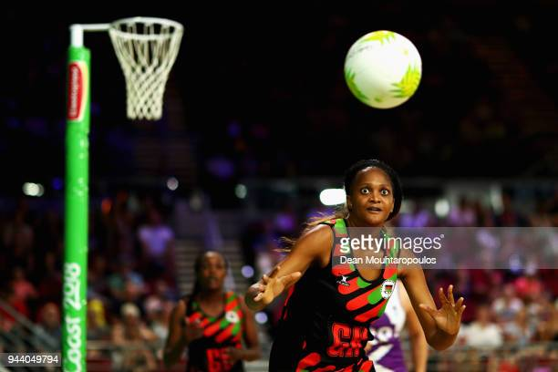 Loreen Ngwira of Malawi in action during Netball on day six of the Gold Coast 2018 Commonwealth Games at Gold Coast Convention Centre on April 10...