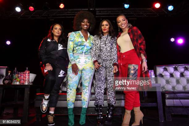 Lore'l Amara La Negra Angela Yee and Stephanie Santiago pose onstage during Angela Yee's Lip Service at Highline on February 13 2018 in New York City