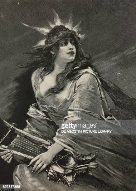 Lorelei German mythical figure painting by Friedrich Ernst Wolfrom woodcut by H Gedan from Moderne Kunst illustrated magazine published by Richard...