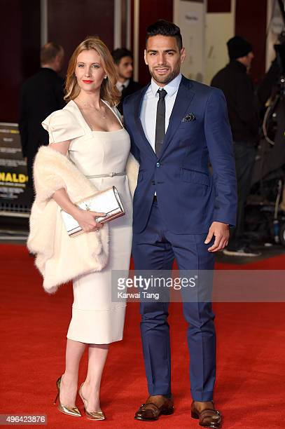 Lorelei Taron and Radamel Falcao attend the World Premiere of 'Ronaldo' at Vue West End on November 9 2015 in London England
