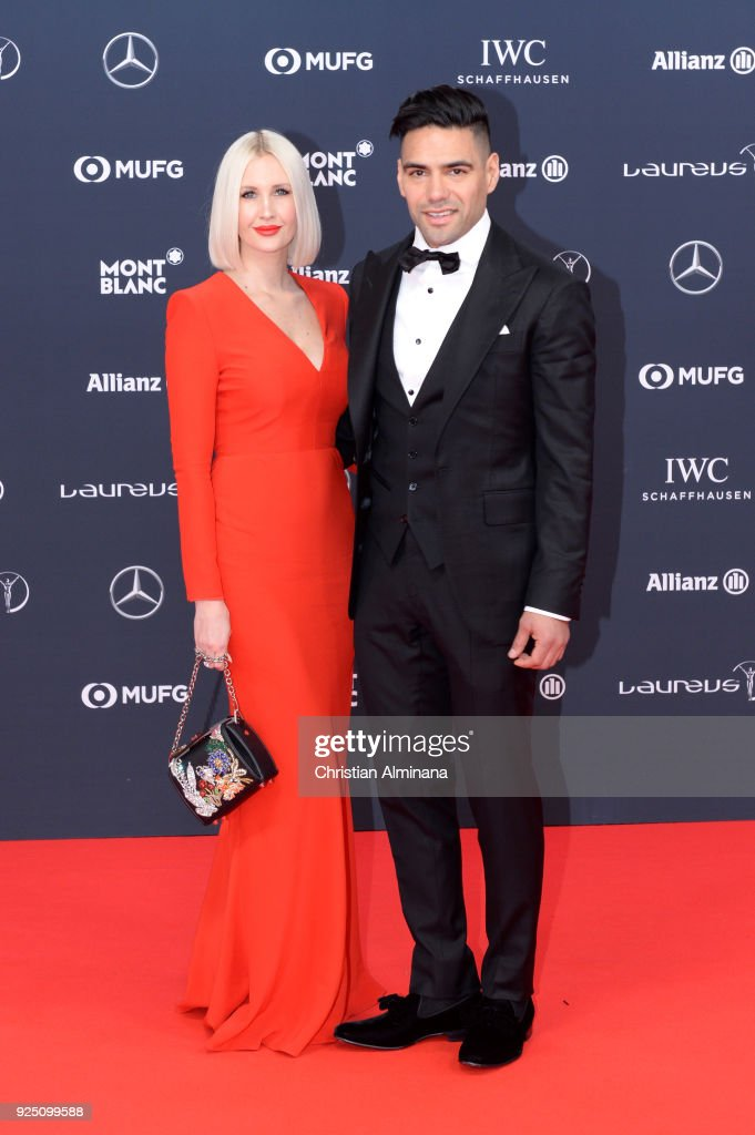 Lorelei Tarona and Radamel Falcao attend the 2018 Laureus World Sports Awards at Salle des Etoiles, Sporting Monte-Carlo on February 27, 2018 in Monaco, Monaco.