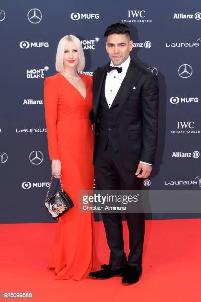 Lorelei Tarona and Radamel Falcao attend the 2018 Laureus World Sports Awards at Salle des Etoiles Sporting MonteCarlo on February 27 2018 in Monaco...