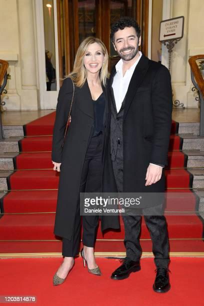 Lorella Cuccarini and Alberto Matano attend the red carpet of the project Tra Palco E Città at the 70° Festival di Sanremo at Casinò on February 03...