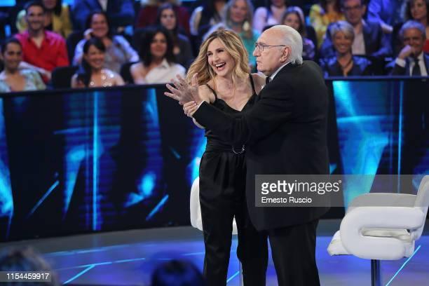 Lorella Cuccarini and Pippo Baudo attend the Buon Compleanno Pippo tv show at RAI Auditorium on June 02 2019 in Rome Italy