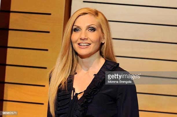 """Lorella Cuccarini attends """"Il Pianeta Proibito"""" musical theatre photocall on February 23, 2010 in Milan, Italy."""