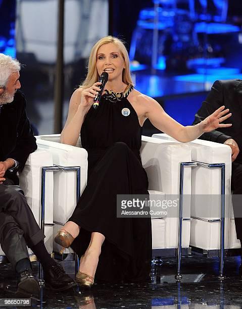 """Lorella Cuccarini attends """"Ti lascio Una Canzone"""" at the Auditorium of Naples on April 24, 2010 in Naples, Italy."""