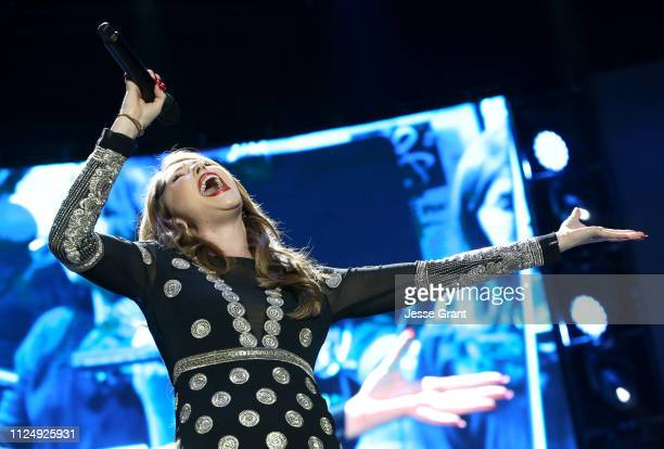 Loren Allred performs onstage at the Yamaha AllStar Concert during the 2019 NAMM Show at the Anaheim Convention Center on January 25 2019 in Anaheim...