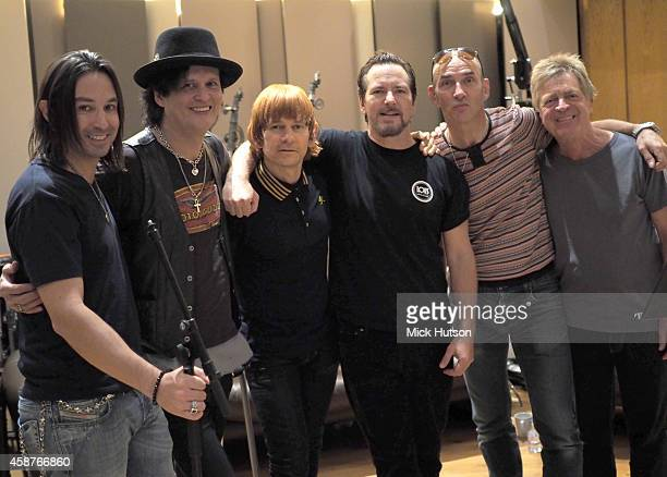 Loren Gold Frank Simes Zak Starkey Eddie Vedder Simon Townshend and Billy Nicholls during rehearsals for The Who's 50th Anniversary Gig for The...