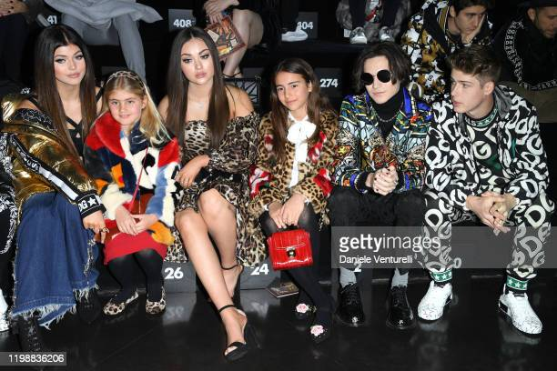 Loren Gray a guest Brooke Taylor Kier a guest Chase Hudson and Blake Gray are seen at Dolce Gabbana Front Row during Milan Men's Fashion Week...