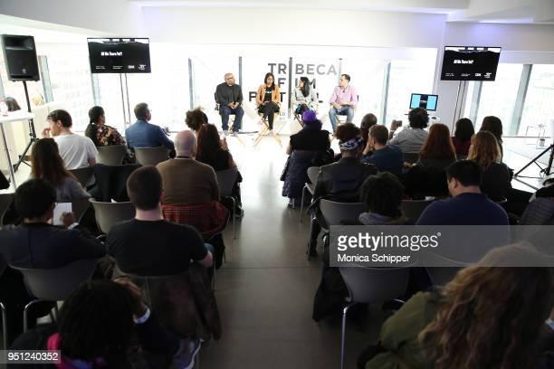 Loren Hammonds Jhanvi Shriram Ketaki Shriram and Graham Sack attend 'Future of Film AR We There Yet' during the 2018 Tribeca Film Festival at Spring...