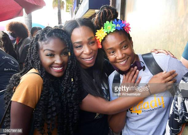 Loren Lott Shannon Morton of Black Women Lead and Tiffany Haddish are seen at Comic and Hollywood Communities Coming Together to Mark Juneteenth...
