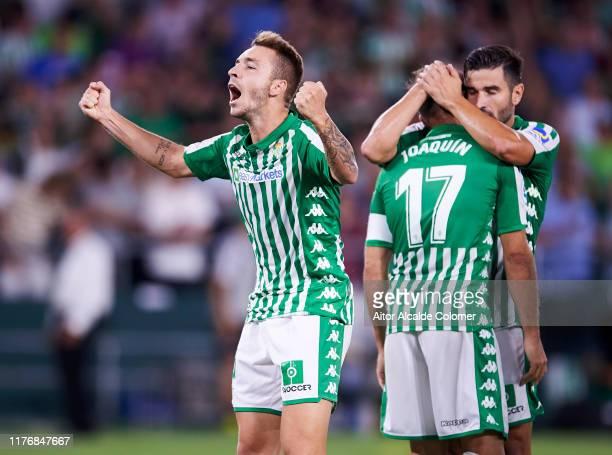 Loren Moron of Real Betis Balompie celebrates after scoring goal during the Liga match between Real Betis Balompie and Levante UD at Estadio Benito...