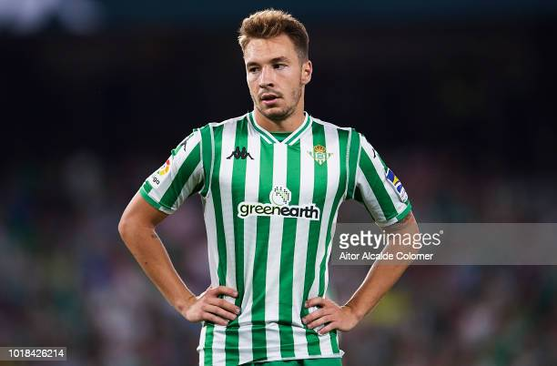 Loren Moron of Real Betis Balompie looks on during the La Liga match between Real Betis Balompie and Levante UD at Estadio Benito Villamarin on...
