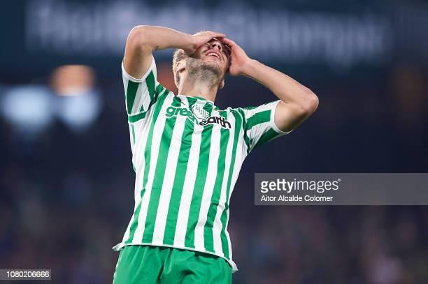 Loren Moron of Real Betis Balompie reacts during the La Liga match between Real Betis Balompie and Rayo Vallecano de Madrid at Estadio Benito...