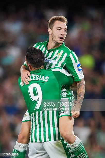 Loren Moron of Real Betis celebrates scoring his team's opening goal with team mates during the Liga match between Real Betis Balompie and Levante UD...