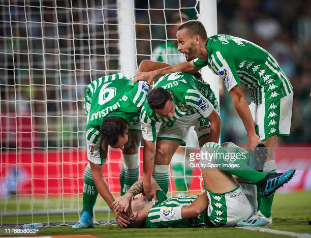 Loren Moron of Real Betis celebrates scoring his team's second goal with team mates during the Liga match between Real Betis Balompie and Levante UD...