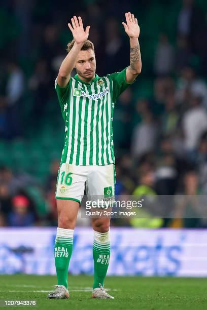 Loren Moron of Real Betis reacts during the La Liga match between Real Betis Balompie and RCD Mallorca at Estadio Benito Villamarin on February 21...