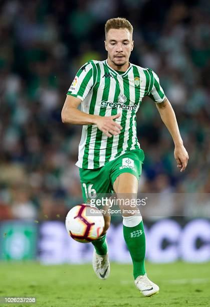 Loren of Betis runs with the ball during the La Liga match between Real Betis Balompie and Sevilla FC at Estadio Benito Villamarin on September 2...