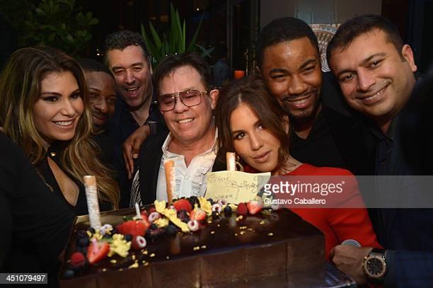 "Loren Ridinger,DJ Irie,Rick De La Croix,JR Ridinger,Amber Ridinger,Duane McLaughlin and Kamal Hotchandan attends the Haute Living Miami's ""Woman Of..."