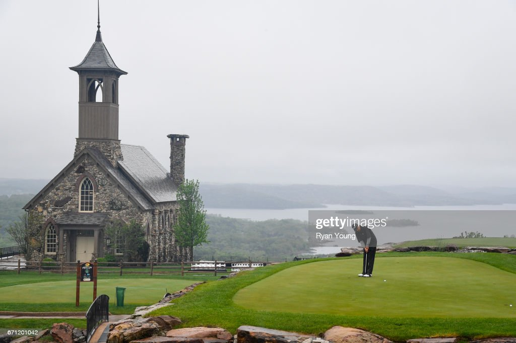 Loren Roberts putts on the practice green during the first round, which was suspended due to rain, of the PGA TOUR Champions Bass Pro Shops Legends of Golf at Big Cedar Lodge at Top of the Rock on April 21, 2017 in Ridgedale, Missouri.