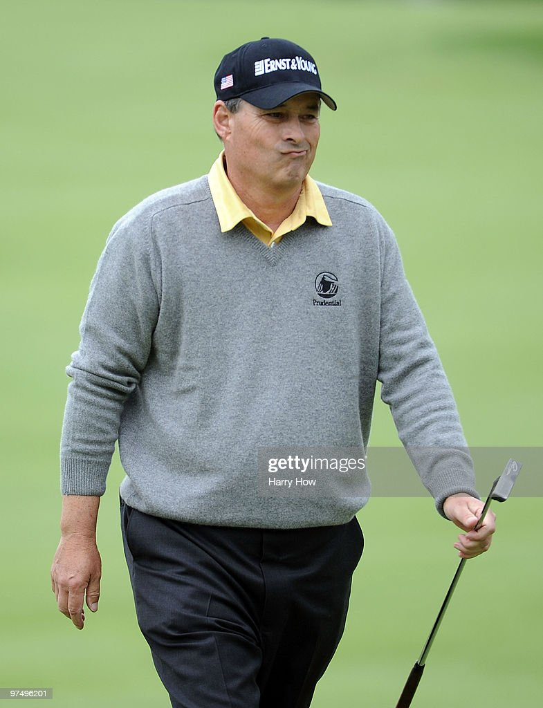 Loren Roberts reacts to his missed birdie putt on the 16th hole during the second round of the Toshiba Classic at the Newport Beach Country Club on March 6, 2010 in Newport Beach, California.