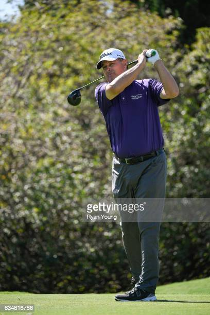 Loren Roberts tees off on the ninth hole during the first round of the PGA TOUR Champions Allianz Championship at The Old Course at Broken Sound on...