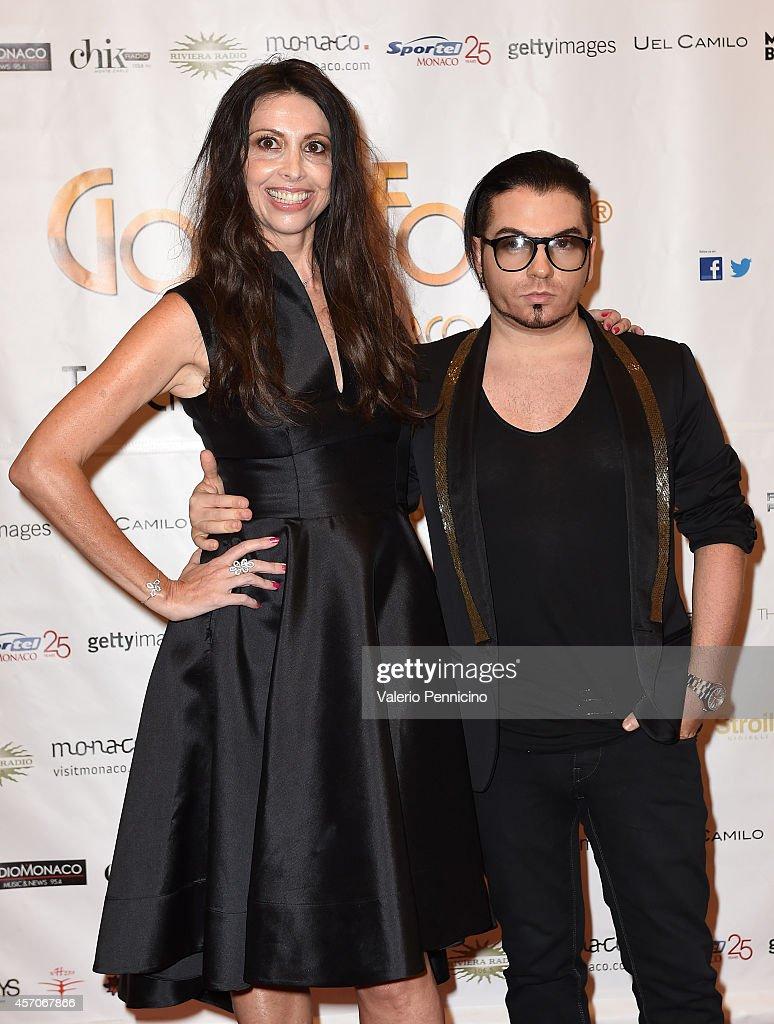 Lorena Baricalla (L) and Joshua Fenu attend the Golden Foot - Footprints Ceremony on October 11, 2014 in Monte-Carlo, Monaco.