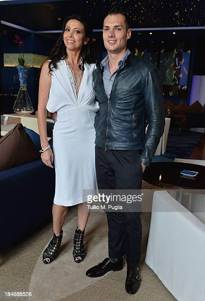 Lorena Baricalla and Michele Caliendo pose for photographers at MonteCarlo Bay prior to the 2013 Golden Foot Award on October 15 2013 in MonteCarlo...