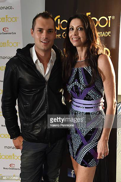 Lorena Baricalla and Michele Caliendo pose for photographers at MonteCarlo Bay after the Golden Foot Interviews on October 12 2014 in MonteCarlo...