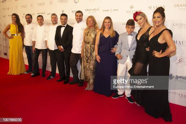 Lorena Bernal chief of the event Luis Fonsi Angeles Munoz Rocio Galan Adrian Agueda Lopez and Maria Bravo attend The Global Gift Gala Marbella 2018...