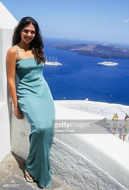 Lorena Bernal Miss Spain 1999 during a visit to the Greek island of Santorini 6th July1999 Santorini Greece