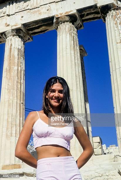 Lorena Bernal Miss Spain 1999 during her visit to Athens 7th July 1999 Athens Greece