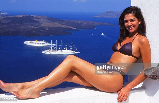 Lorena Bernal Miss Spain 1999 during her visit to the island of Santorini 05th July 1999 Athens Greece
