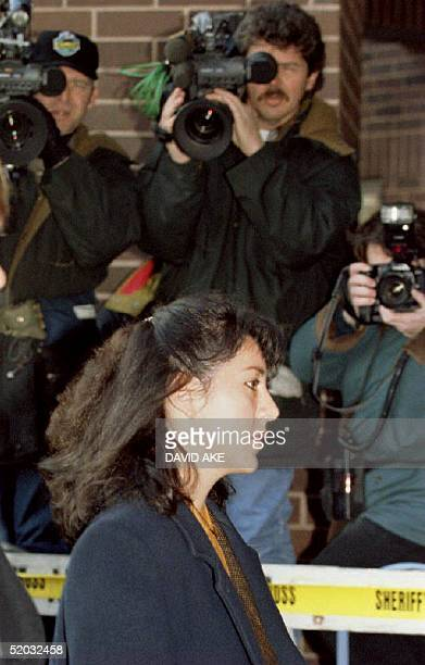 Lorena Bobbitt arrives at the Prince William County Courthouse in Manasas VA 11 January 1994 for the second day of her trial for malicious wounding...