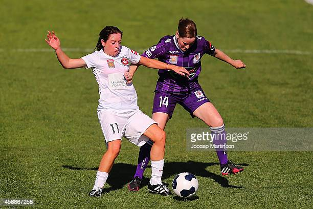 Lorena Bugden of the Wanderers competes with Collette McCallum of the Glory during the round four WLeague match between Western Sydney and Perth...
