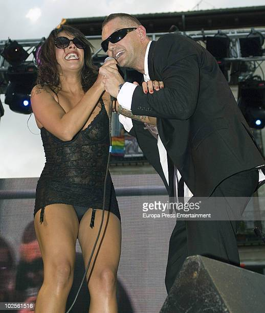 Lorena C and Nacho Vidal perform during the opening of the Gay Pride Parade 2010 on June 30 2010 in Madrid Spain