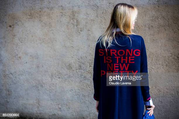 Lorena Campello fashion detail is seen after the Dior show at the Musee Rodin during Paris Fashion Week Womenswear SS18 on September 26 2017 in Paris...