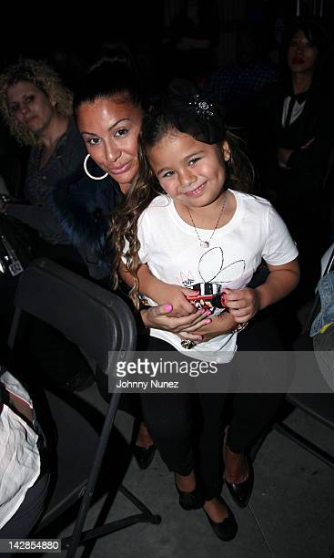 Lorena Cartagena and daughter attend the MTV2 New Gameshow Hip Hop Squares Taping at Steiner Studios on April 13 2012 in the Brooklyn borough of New...